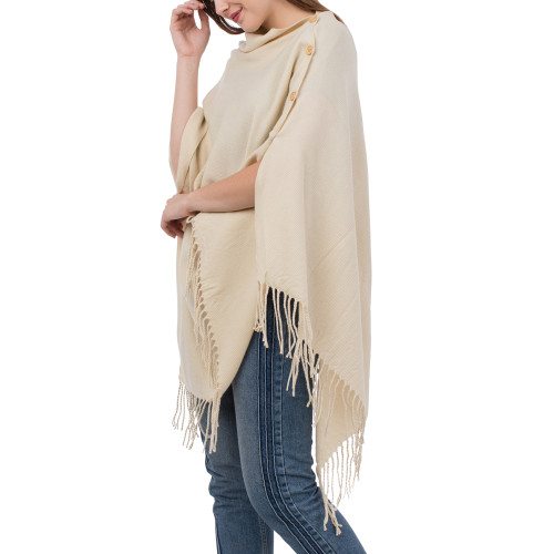 Solid Sand 3-in-1 Fringe Wrap