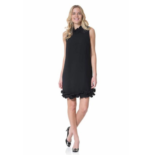 Black Double Ruffle Sleeveless Dress