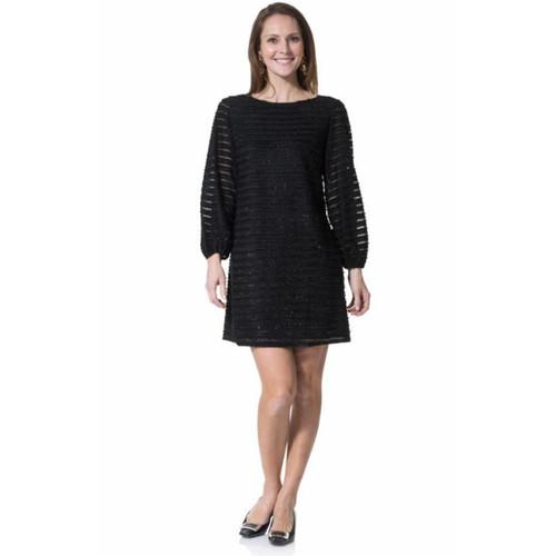 Black Sparkle Fringe Long Sleeve Dress