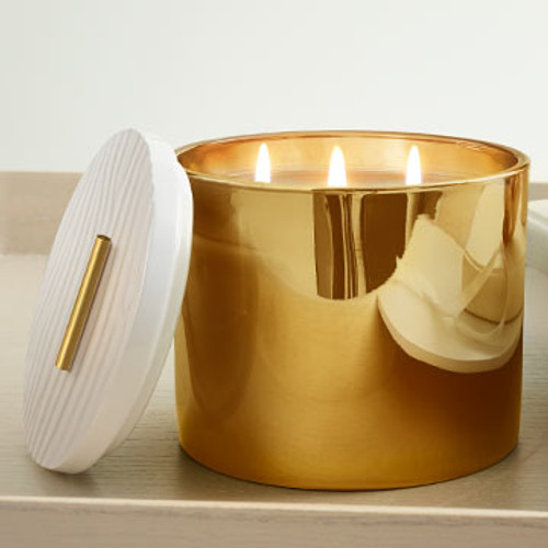 Frasier Fir Gilded Poured Candle, 3-wick Gold, 17.0 oz