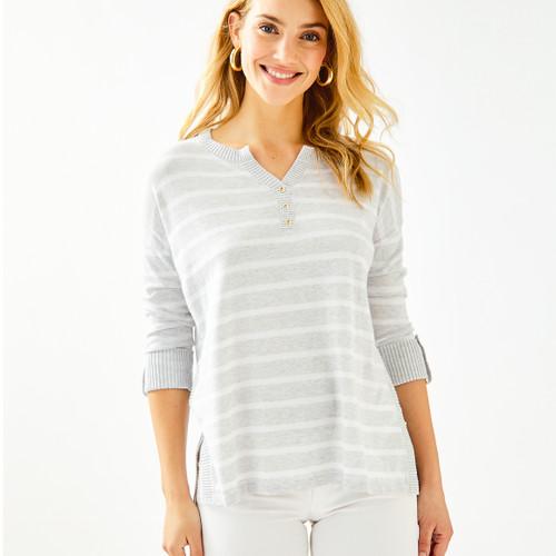 Faraway Sweater Heathered Seaside Grey Moonlight Stripe
