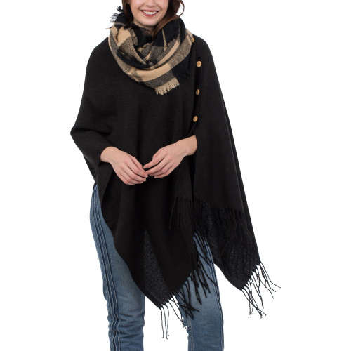 Solid Black 3-in-1 Fringe Wrap