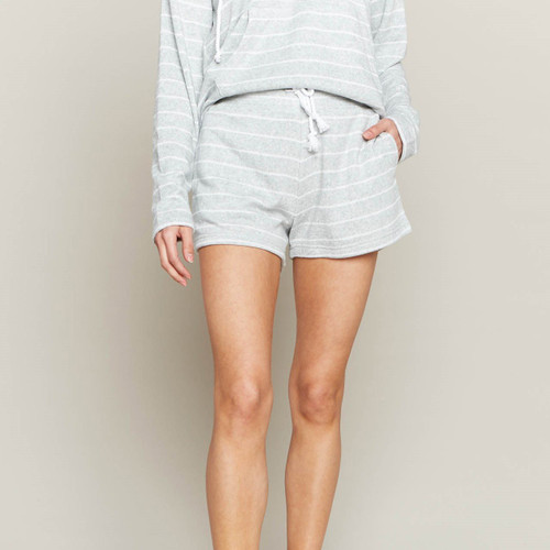 High Tide Shorts  HT Grey White Terry Stripe