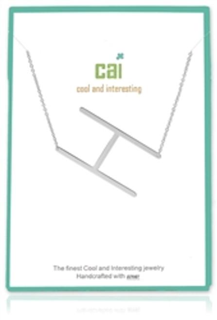 Medium Sideways Initial Necklace- Silver or Gold