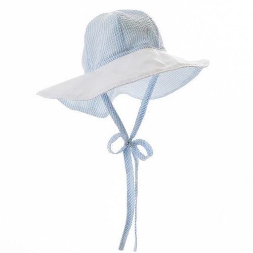 Sawyer Sunhat Seersucker Breakers Worth Ave White