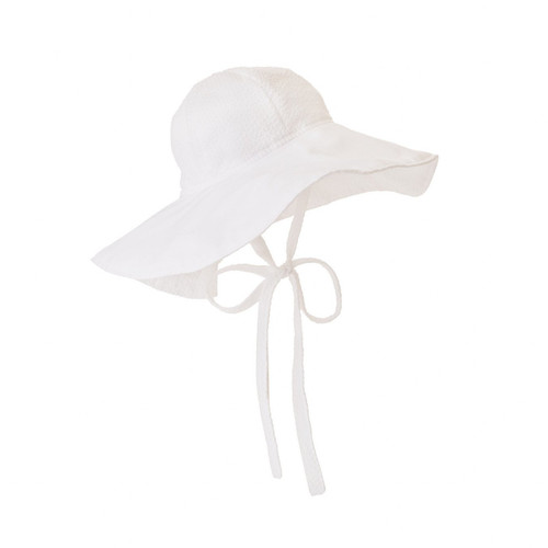 Cissy Sunhat Seersucker Worth Ave White