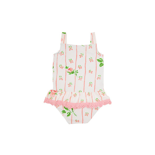 Grace Baby Bathing Suit w/Snaps Ridgewood Rows Sand Pearl Pink