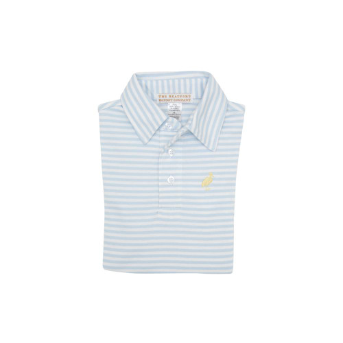 Prim and Proper Short Sleeve Pima Polo Buckhead Blue Stripe Seaside Sunny Yellow