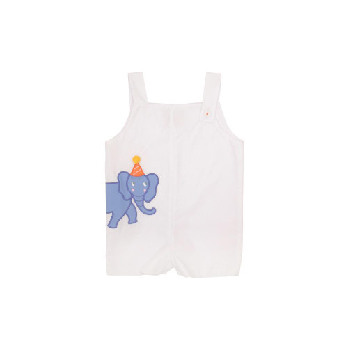 Teddy's Jon Jon Elephant Applique Worth Ave White