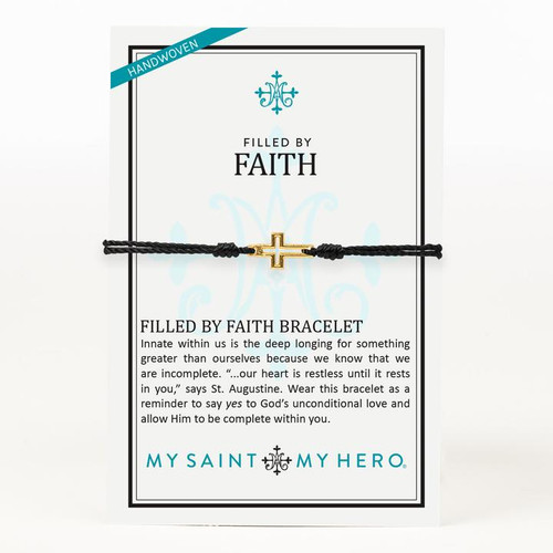 Filled By Faith Open Cross Bracelet Gold, Black