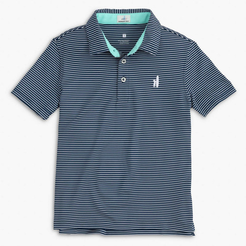 BOYS Jr. Merrins Striped Prep-Formance Polo -CADET