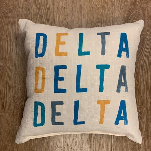 Delta Delta Delta Pillow- tonal colors