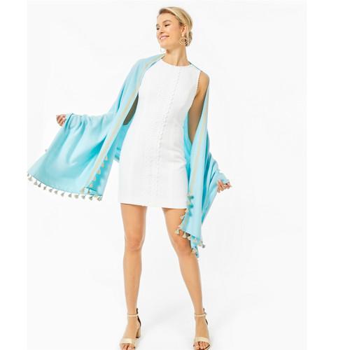 Mila Stretch Shift Dress- Resort White Turtle Pucker Jacquard