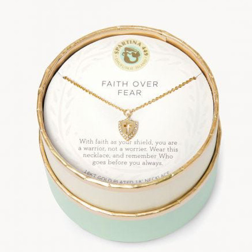 """SLV Necklace 18"""" Faith Over Fear/Cross Shield"""