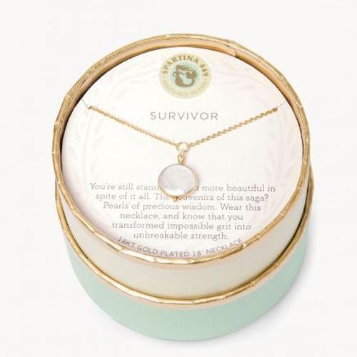 """SLV Necklace 18"""" Survivor/Coin Pearl"""