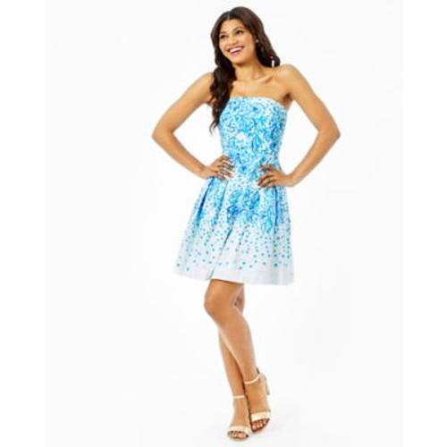 Kenzie Strapless Dress- Resort White Karma Camellia Engineered Woven Dress