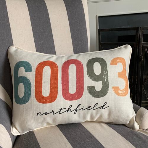 City Zip Code Pillow- Northfield