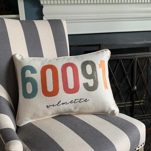 City Zip Code Pillow- Wilmette