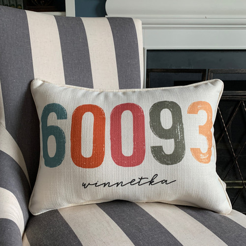 City Zip Code Pillow- Winnetka
