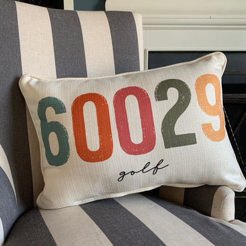 City Zip Code Pillow- Golf