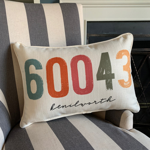 City Zip Code Pillow- Kenilworth