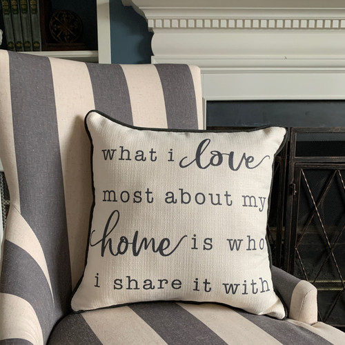 """What I love most about HOME"" Pillow"