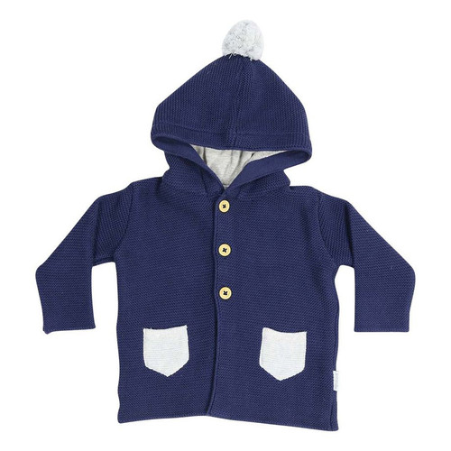 Baa Baa White Sheep Hooded Knit Jacket w/Contrast Pocket Navy