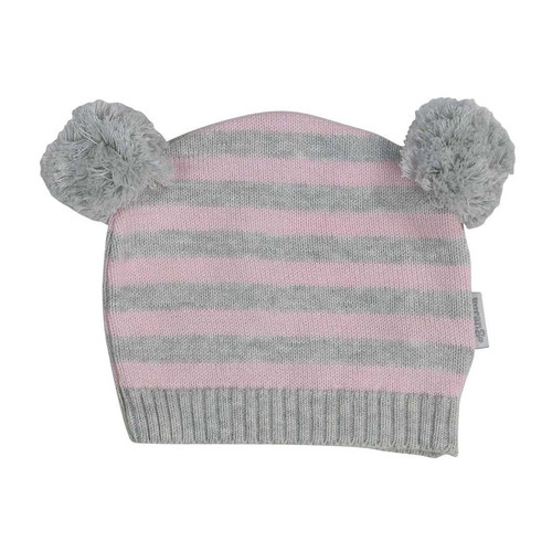 Baa Baa White Sheep Stripe Knit Beanie w/Pom Poms Pink/Grey Stripe