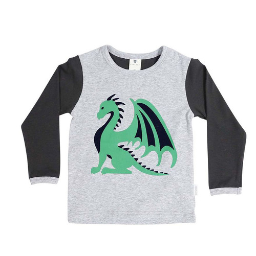 Dragon Long Sleeve Dargon Print Tee Grey/Charcoal