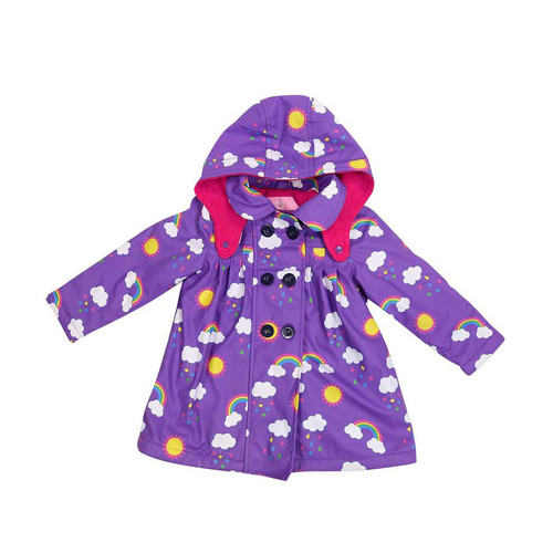 Rainwear Raincoat Rainbow Print Polar Fleece Lined Violet