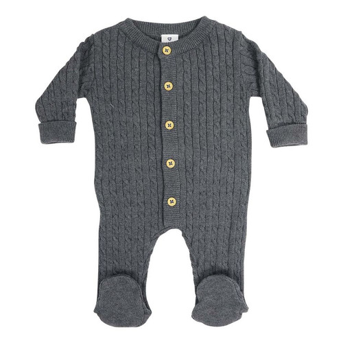 Classic Cable Knit Romper Charcoal