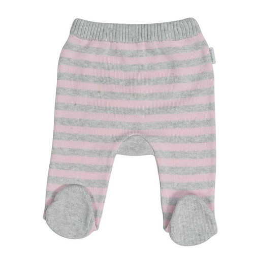 Baa Baa White Sheep Stripe Knit Legging Pink/Grey Stripe