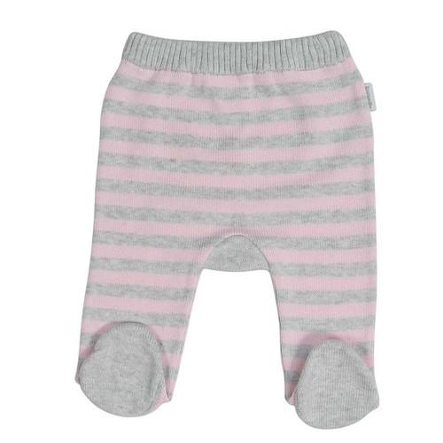 Baa Baa White Sheep Stripe Knit Legging Pink/Grey Stripe