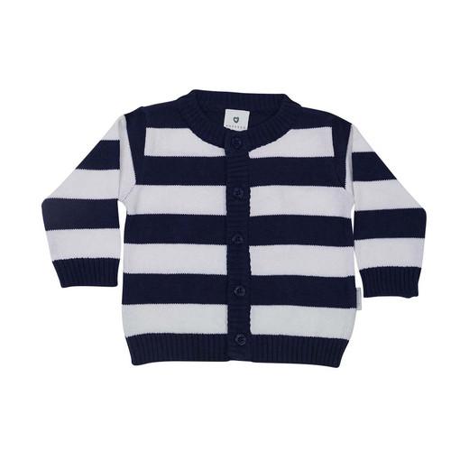 Whale Cardigan Navy & White Stripe