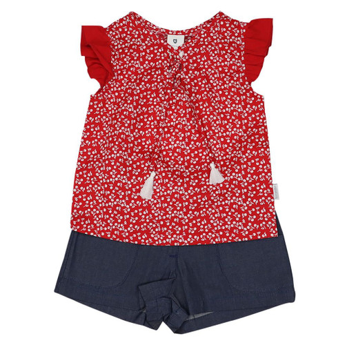 Cherry Blouse and Short Set Red