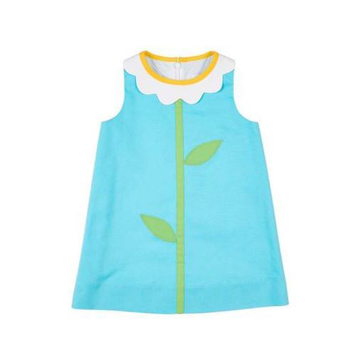 Turquoise Flower Collar Dress