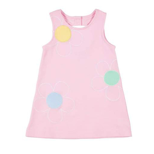 Pink Pique Knit Dress w/Embroidered Petals