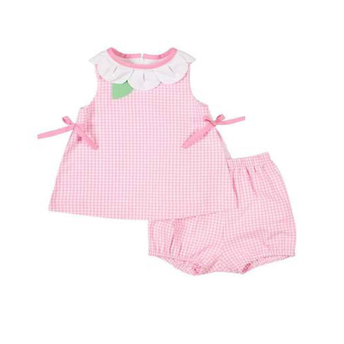 Pink White Check Petal Neck Top w/Bloomers