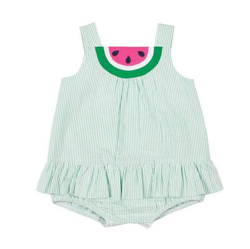 Green Stripe Seersucker Romper w/Watermelon