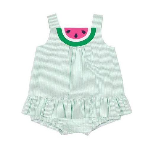 Green Stripe Seersucker Romper w/Watermelon