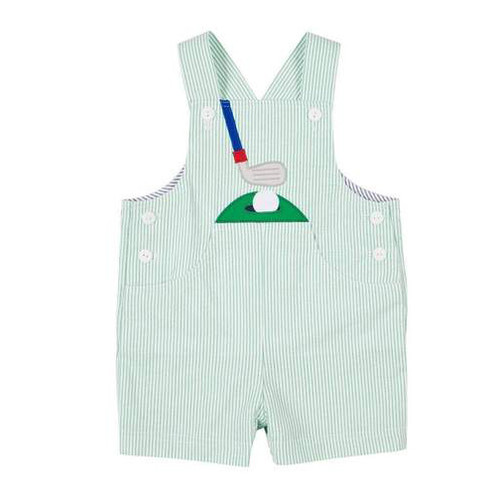 Green Stripe Seersucker Golf Shortall