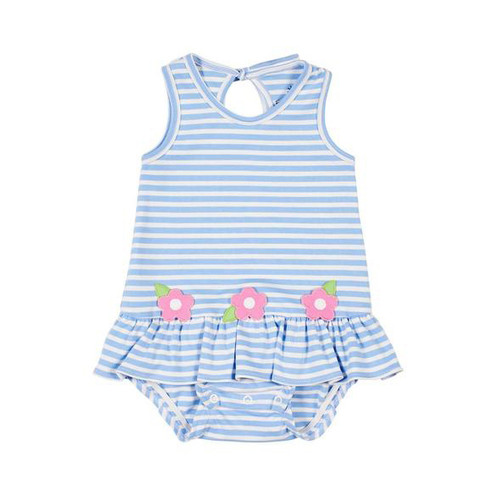 Med Blue White Stripe Interlock Romper w/Flowers