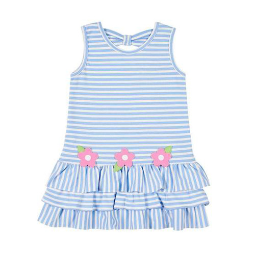 Med Blue Stripe Interlock Dress w/Flowers
