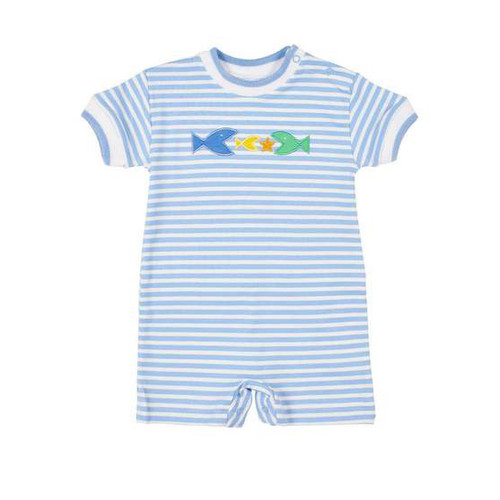 Med Blue Stripe Interlock Shortall w/Fish