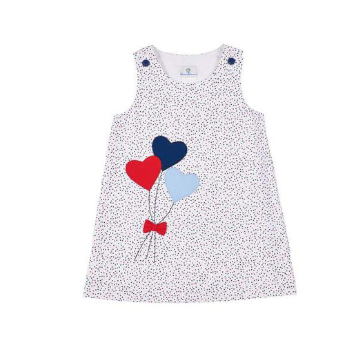 White w/Tiny Navy Blue, Red Dot Pique Dress w/Heart Balloons