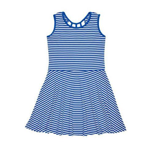 Royal White Stripe Knit Dress
