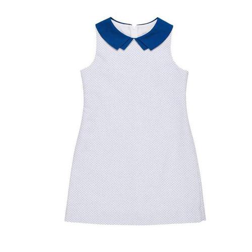 White Blue Birdseye Pique Dress