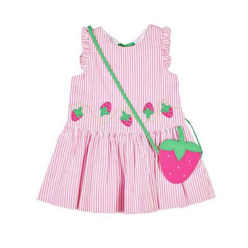 Pink White Stripe Seersucker Dress w/Strawberries