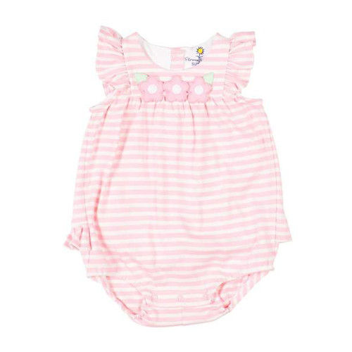 Pink Stripe Interlock Romper w/Flowers