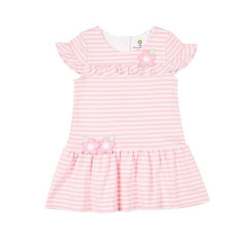 Pink Stripe Interlock Dress w/Flowers